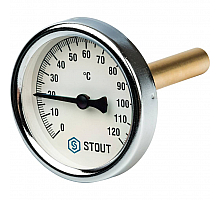 STOUT SIM-0001 Термометр биметаллический с погружной гильзой. Корпус Dn 63 мм, гильза 75 мм 1/2, 0...120°С