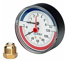 STOUT SIM-0005 Термоманометр аксиальный в комплекте с автоматическим запорным клапаном. Корпус Dn 80 мм 1/2, 0...120°C, 0-6 бар.