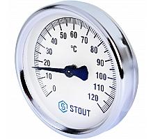 STOUT SIM-0004 Термометр биметаллический накладной с пружиной. Корпус Dn 80 мм, 0...120°С, 1-2
