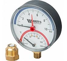 Watts  F+R828 Термоманометр радиальный 10х1/2 DN 80 (0-10 бар)