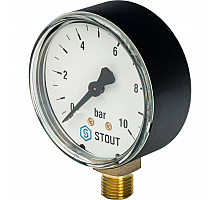 STOUT SIM-0010 Манометр радиальный. Корпус Dn 63 мм 1/4, 0...10 бар, кл.2.5