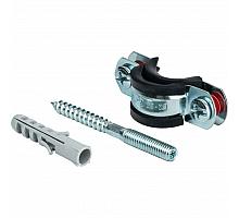 STOUT SAC-0020-Комплекты Хомут для труб, комплект: хомут+шпилька шуруп +дюбель пластиковый 3/4(25-29)