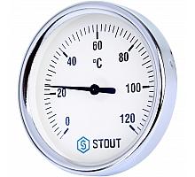 STOUT SIM-003 Термометр биметаллический с погружной гильзой. Корпус Dn 80 мм, гильза 50 мм, резьба с самоуплотнением 1/2, 0...120°С
