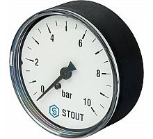 STOUT SIM-0009 Манометр аксиальный. Корпус Dn 63 мм 1/4, 0...10 бар, кл.2.5