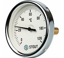 STOUT SIM-0001 Термометр биметаллический с погружной гильзой. Корпус Dn 80 мм, гильза 50 мм 1/2, 0...120°С