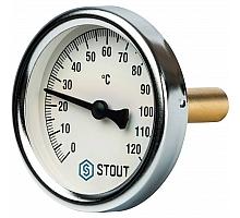 STOUT SIM-0001 Термометр биметаллический с погружной гильзой. Корпус Dn 63 мм, гильза 50 мм 1/2, 0...120°С