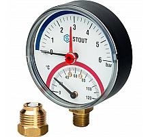 STOUT SIM-0006 Термоманометр радиальный в комплекте с автоматическим запорным клапаном. Корпус Dn 80 мм 1/2, 0...120°C, 0-6 бар.