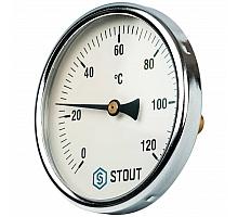 STOUT SIM-0001 Термометр биметаллический с погружной гильзой. Корпус Dn 100 мм, гильза 50 мм 1/2, 0...120°С