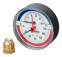 Watts  FR 818(TMAX) 10 x 1/2 Термоманометр аксиальный, 80 мм, 0-10 бар