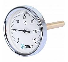 STOUT SIM-0001 Термометр биметаллический с погружной гильзой. Корпус Dn 80 мм, гильза 100 мм 1/2, 0...120°С