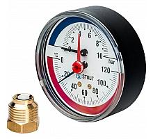 STOUT SIM-0005 Термоманометр аксиальный в комплекте с автоматическим запорным клапаном. Корпус Dn 80 мм 1/2, 0...120°C, 0-10 бар.