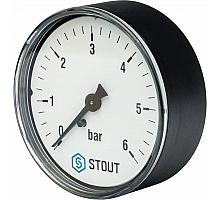 STOUT SIM-0009 Манометр аксиальный. Корпус Dn 63 мм 1/4, 0...6 бар, кл.2.5