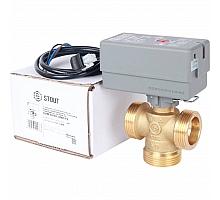 STOUT  Компактный 3-Ходовой зональный клапан, сервопривод 230V, с кабелем 1м., НР 1 1/4