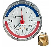 STOUT SIM-0005 Термоманометр аксиальный в комплекте с автоматическим запорным клапаном. Корпус Dn 80 мм 1/2, 0...120°C, 0-4 бар.