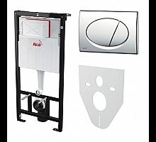 Set с инсталляцией, кнопкой хром глянец и шумоизоляцией AlcaPlast Sadromodul AM101/1120-4:1RS M71-001