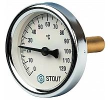 STOUT SIM-0003 Термометр биметаллический с погружной гильзой. Корпус Dn 63 мм, гильза 50 мм, резьба с самоуплотнением 1/2, 0...120°С
