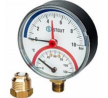 STOUT SIM-0006 Термоманометр радиальный в комплекте с автоматическим запорным клапаном. Корпус Dn 80 мм 1/2, 0...120°C, 0-10 бар.