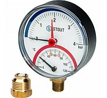 STOUT SIM-0006 Термоманометр радиальный в комплекте с автоматическим запорным клапаном. Корпус Dn 80 мм 1/2, 0...120°C, 0-4 бар.