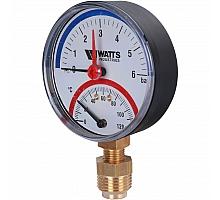 Watts  F+R828 Термоманометр радиальный 6х1/2 DN 80 (0-6 бар)