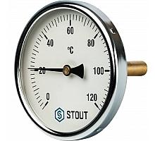 STOUT SIM-0001 Термометр биметаллический с погружной гильзой. Корпус Dn 100 мм, гильза 75 мм 1/2, 0...120°С