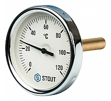 STOUT SIM-0001 Термометр биметаллический с погружной гильзой. Корпус Dn 80 мм, гильза 75 мм 1/2, 0...120°С