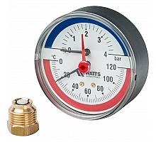 Watts  FR 818(TMAX) 4 Термоманометр аксиальный 1/2 x 4 бар (80мм)