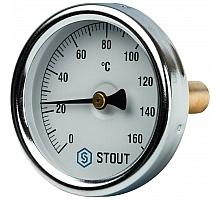 STOUT SIM-0002 Термометр биметаллический с погружной гильзой. Корпус Dn 63 мм, гильза 50 мм 1/ 2, 0...160°С